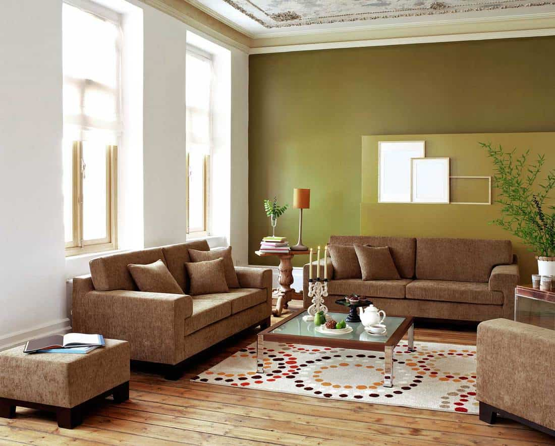 Living room of a modern house with sofa set and coffee table