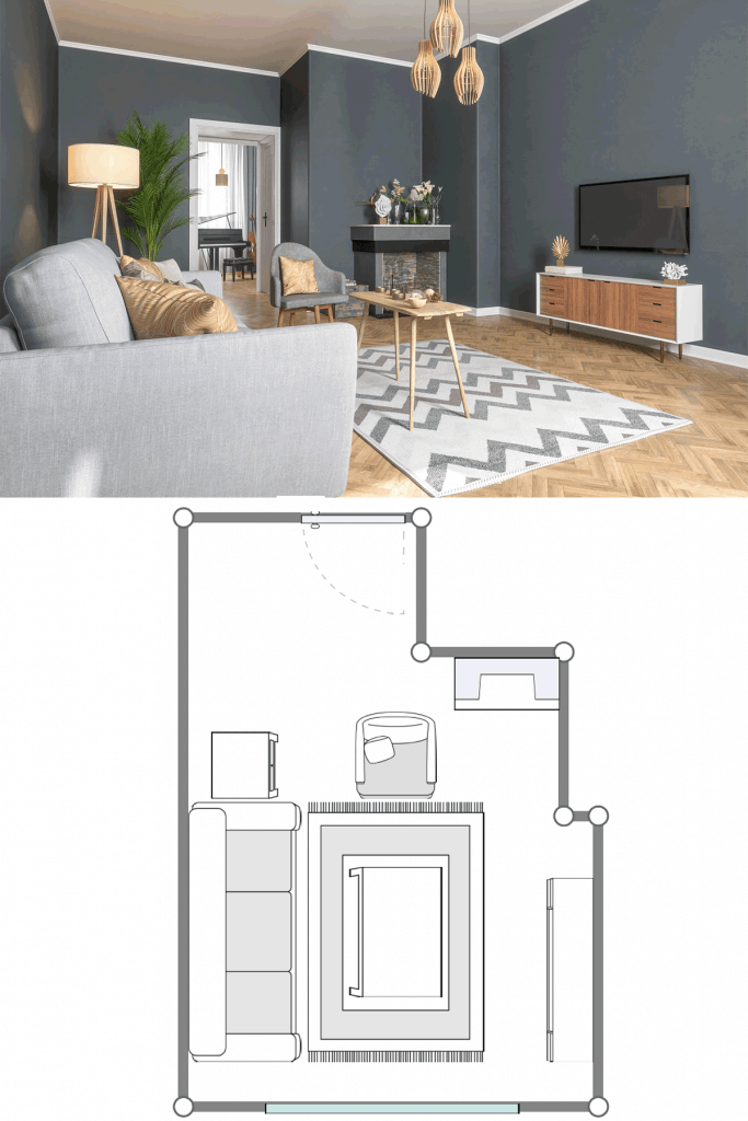 Living room with gray colored walls, wooden zigzag flooring with carpet, and two gray colored sofas with throw pillows