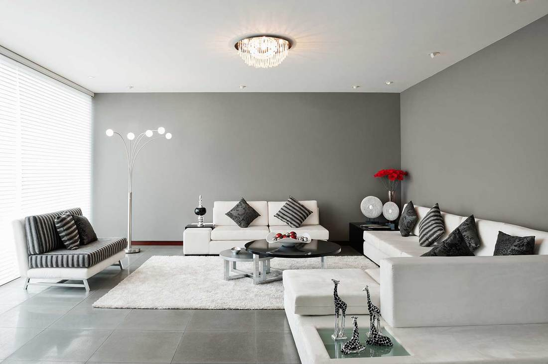 Living room with gray wall, white sofa, white carpet rug on floor and giraffe decors