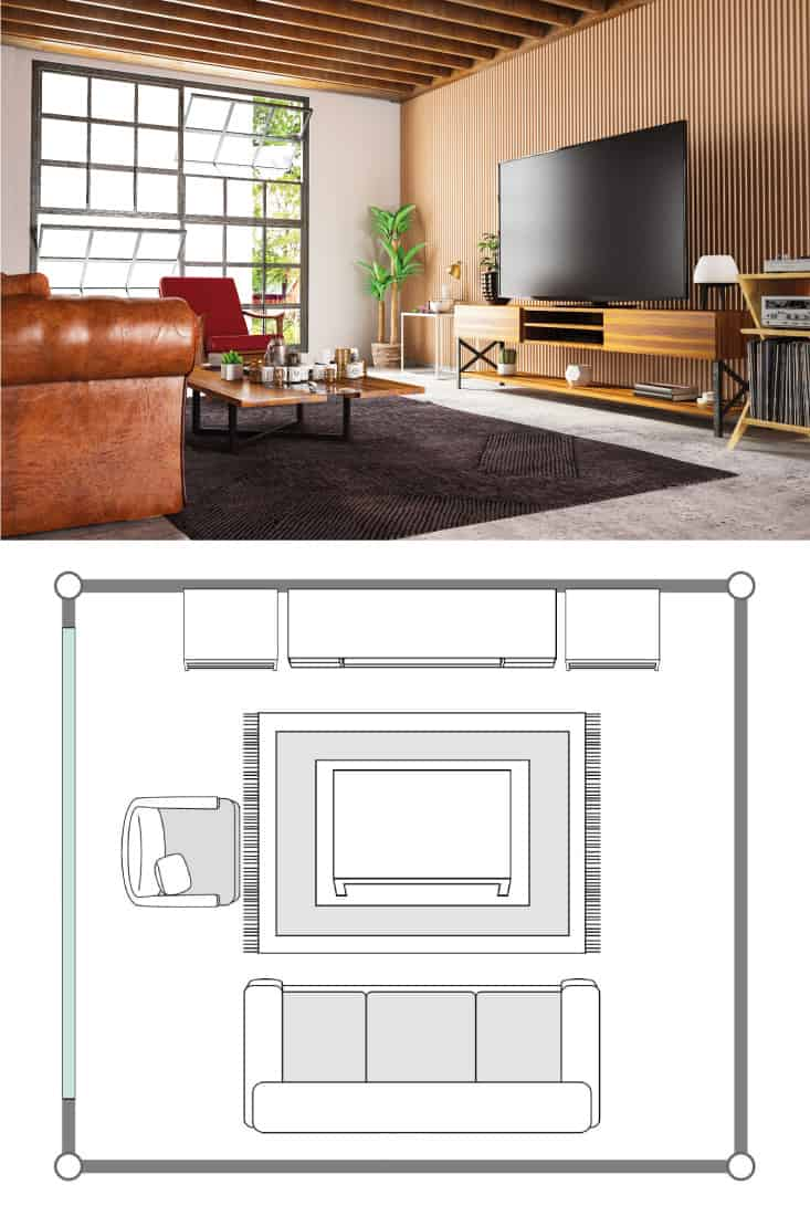 loft wooden room with television set