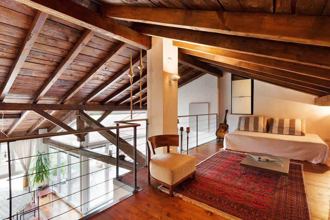 Loft house interior bedroom on the attic