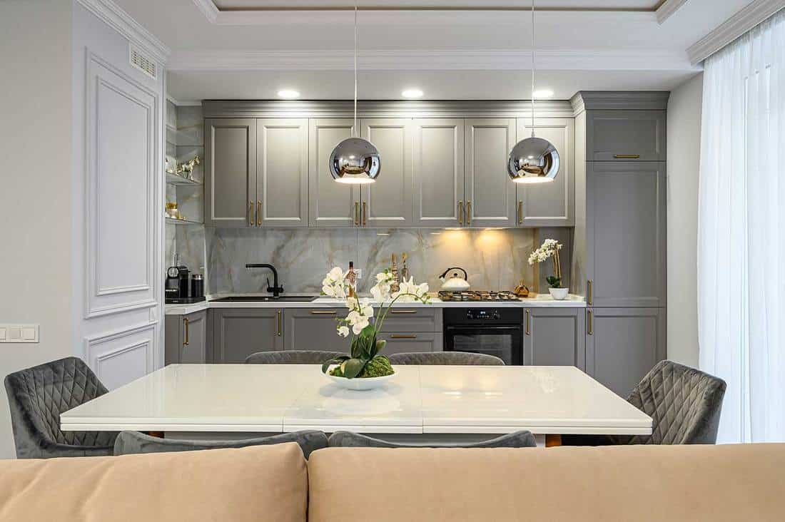 Luxury gray and white modern kitchen and dining room