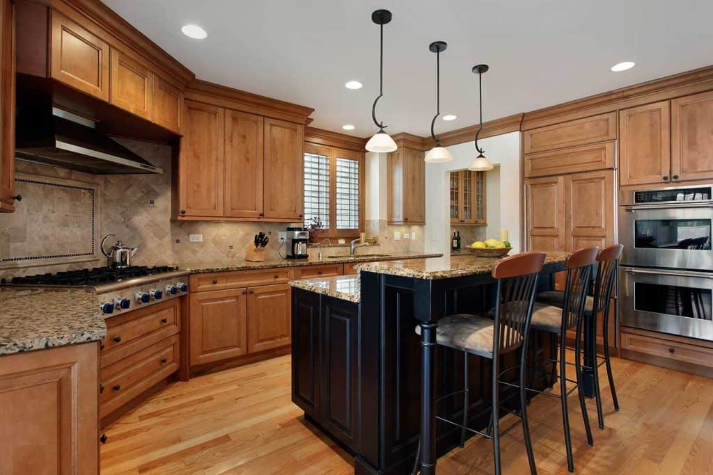 Luxury kitchen with granite island table