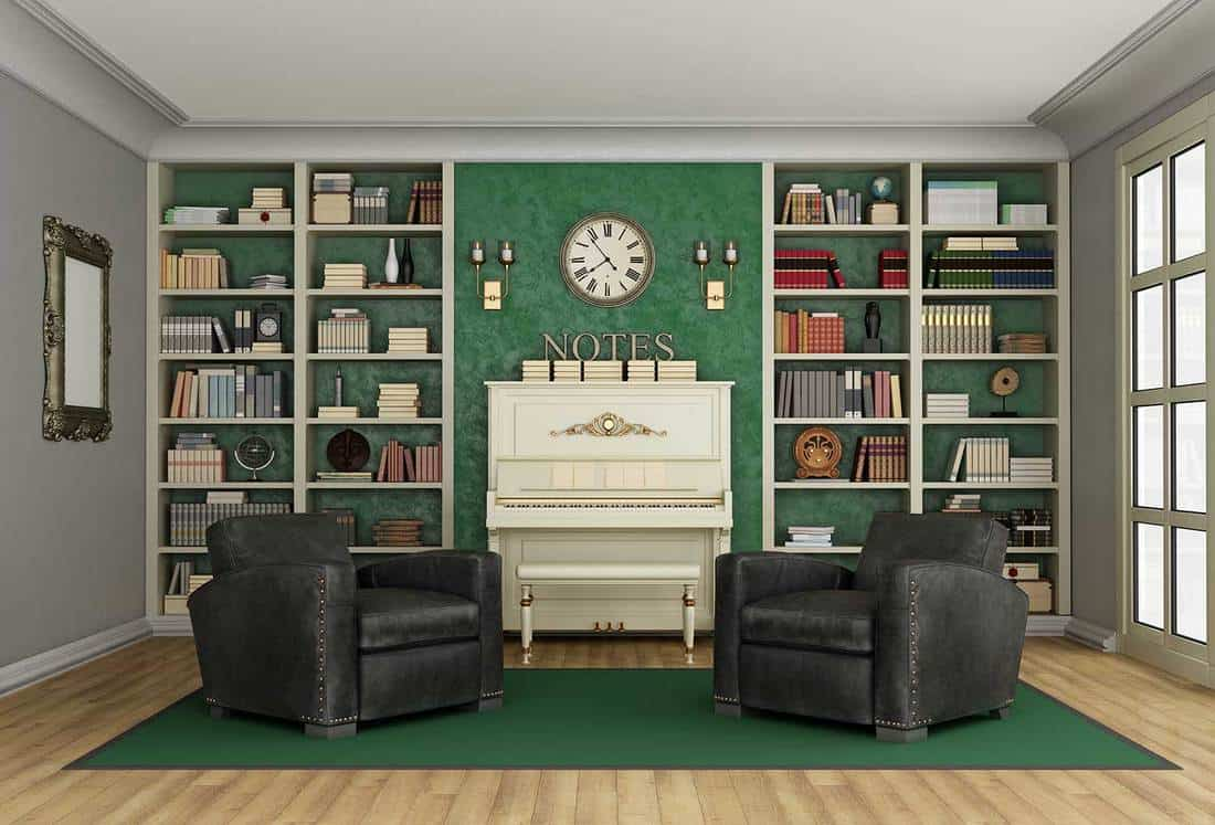 Luxury living room with bookcase and upright piano