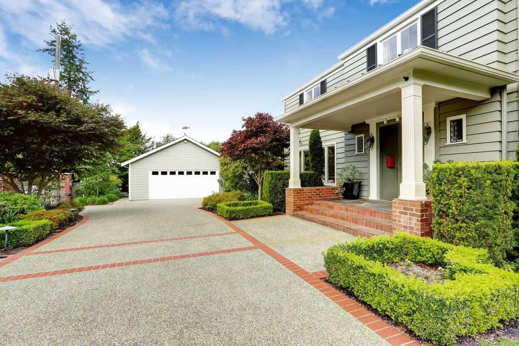 Luxury real estate entrance porch with brick trim