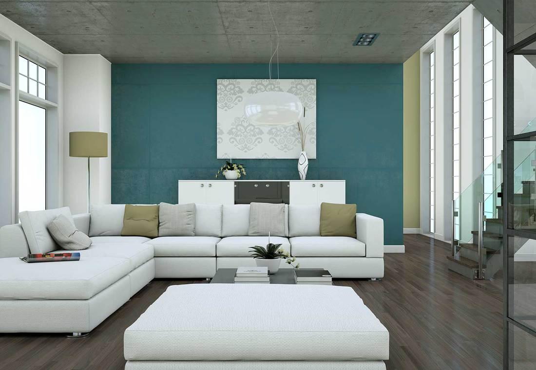Minimalistic loft interior design with sofas and concrete walls