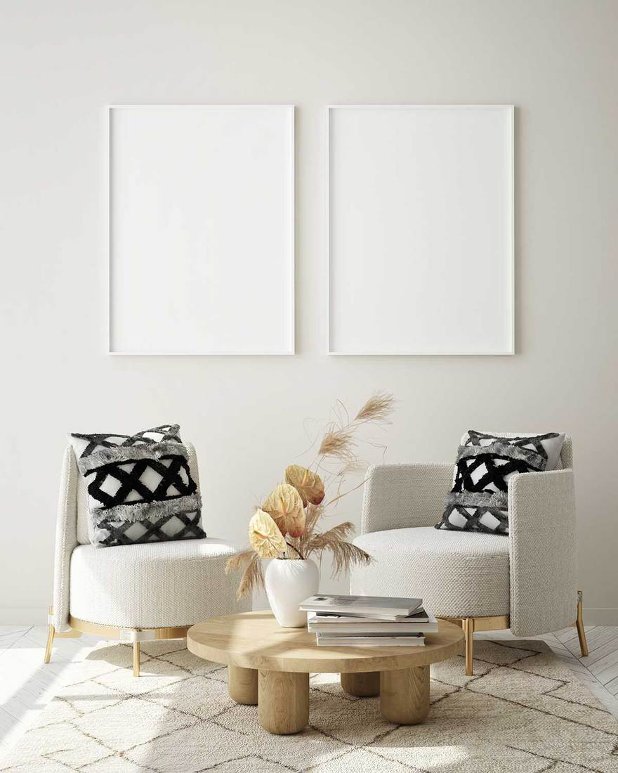 Mock up poster frame in Scandinavian style modern interior living room