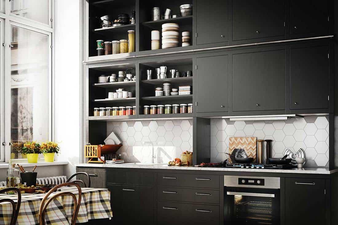 Modern Scandinavian domestic kitchen interior with dark kitchen cabinets