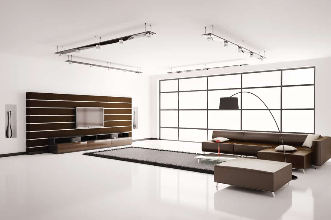 Modern Whiteliving room with brown sofa TV cabinet, rug, and floor lamp
