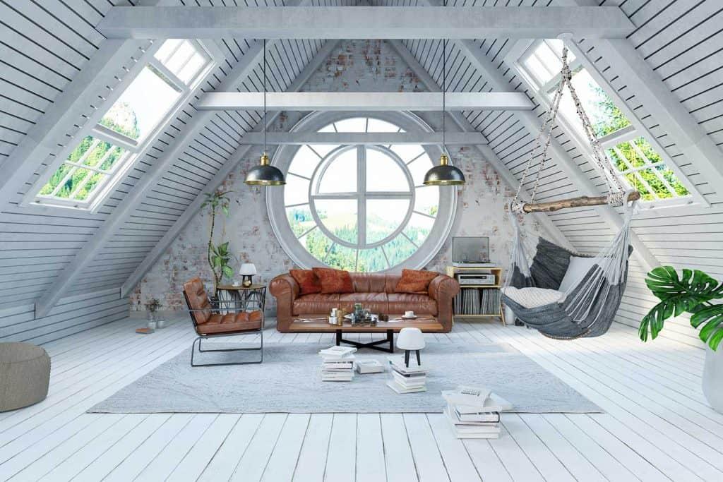 Modern attic living room interior