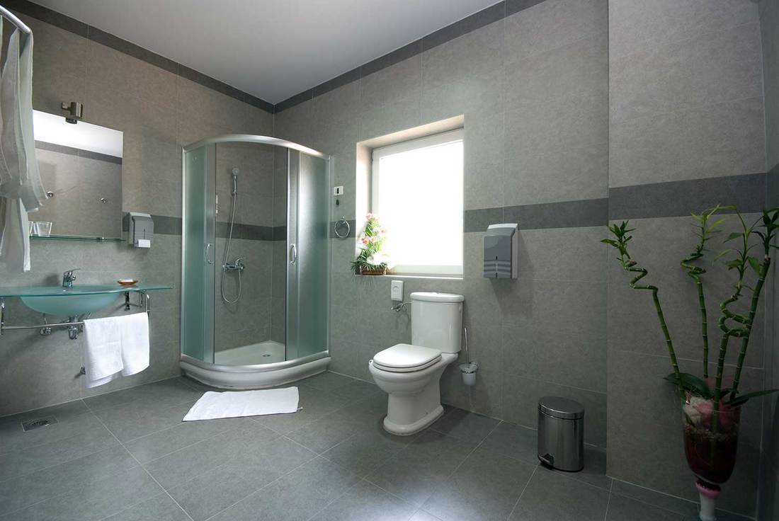 Modern bathroom with toilet, shower, tiled floor and walls