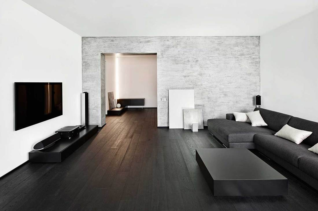 Modern black and white theme living room interior