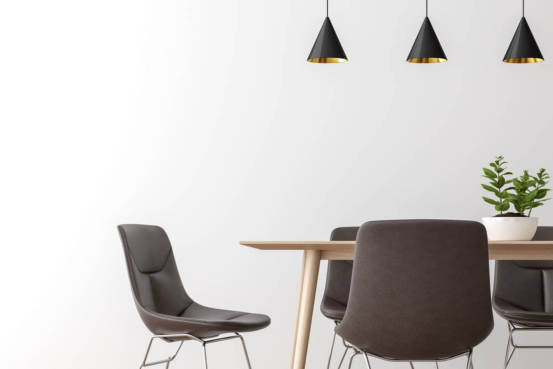 Modern dining room interior minimal style image,There are empty white wall,leather chair and wood desk, How To Reupholster A Leather Dining Chair [4 Easy Steps]