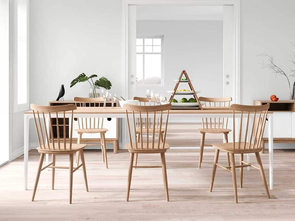 Modern dining room with wooden chairs and table