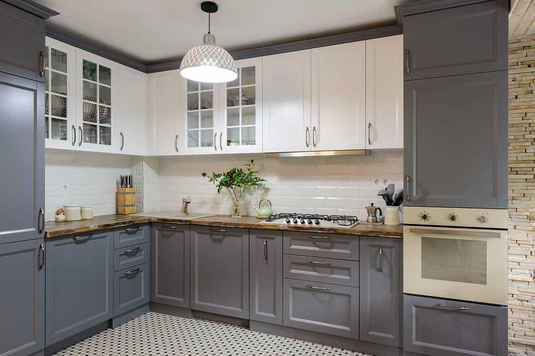 Modern gray and white wooden kitchen interior