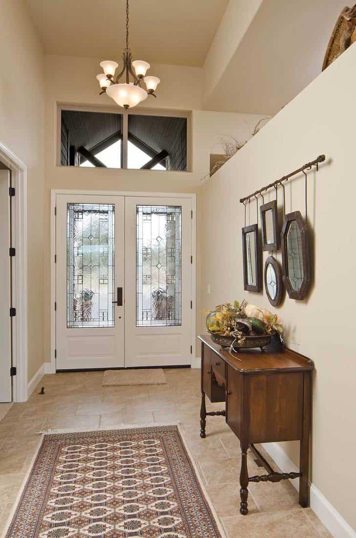 Modern hallway with glass door