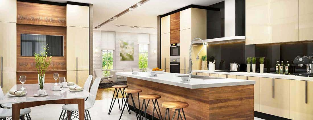 Modern interior design large kitchen and dining room