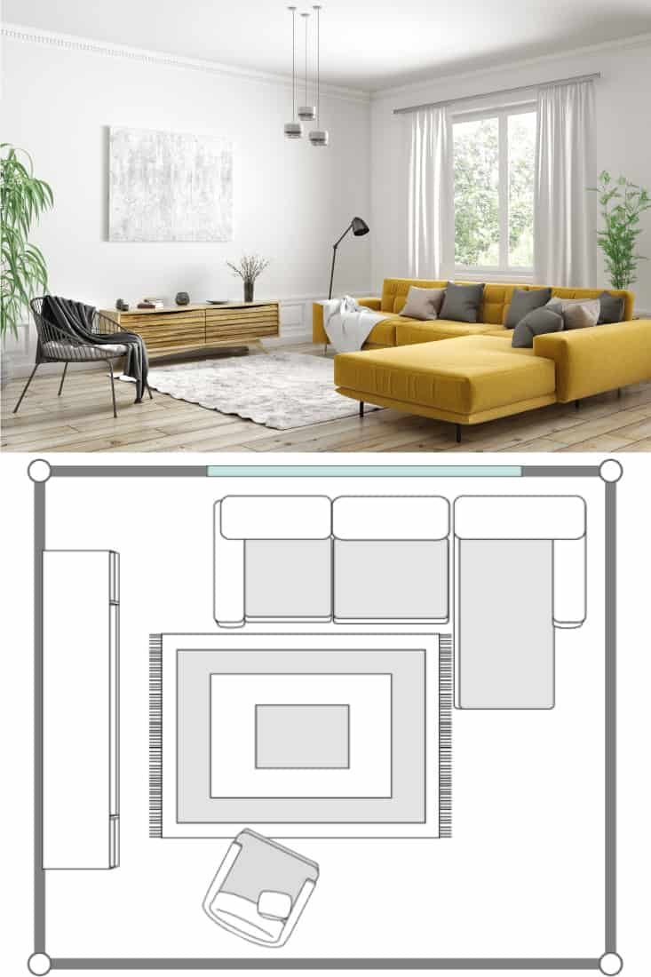 Modern interior design of Scandinavian apartment, living room with yellow sofa, sideboard and black armchair