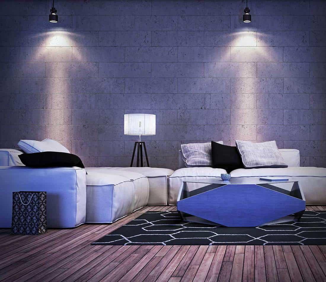 Modern interior design of living room with brick walls and hardwood floor