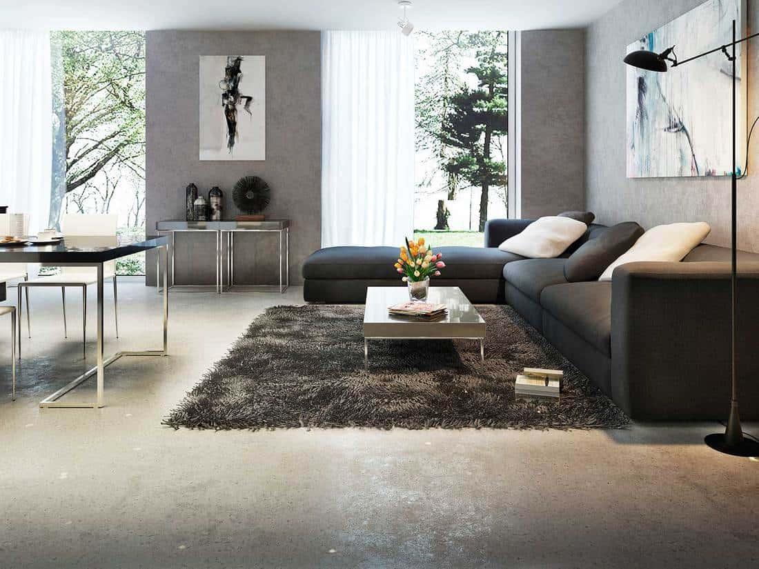 Modern interior living room with corner sofa, wall art decor, floor lamp and carpet rug on floor