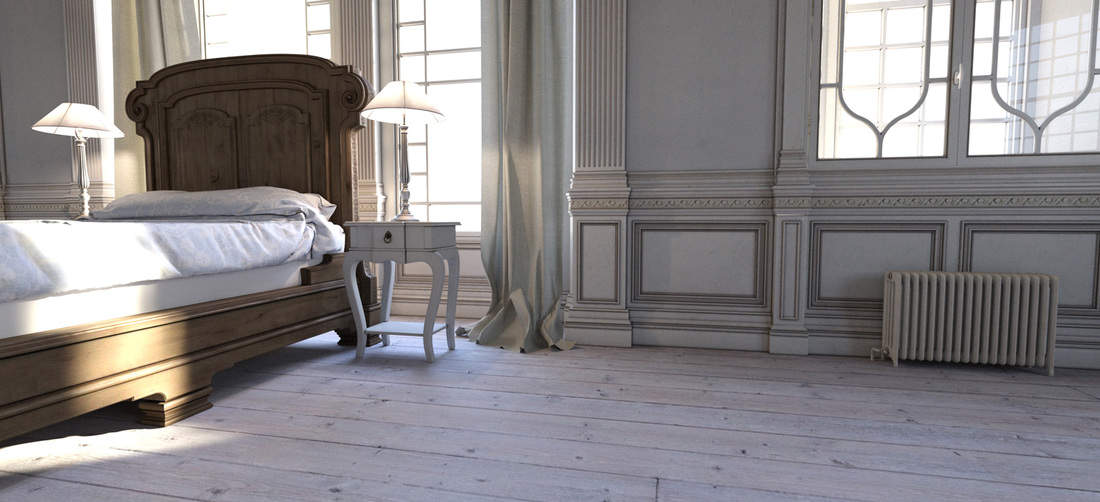 Modern interior of an 18th Century French Chateau bedroom