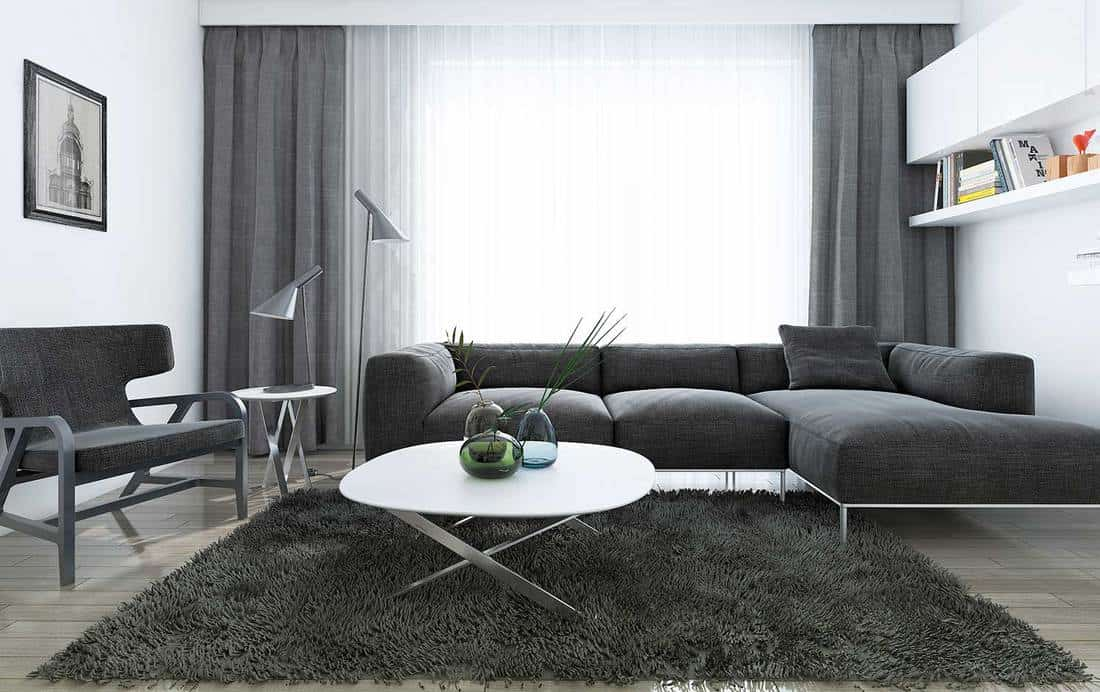 Modern interior of living room with black corner sofa and carpet rug on wooden floor
