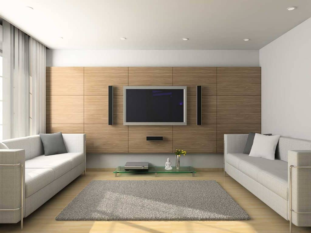 Modern interior of living room with two sofas and carpet on parquet floor