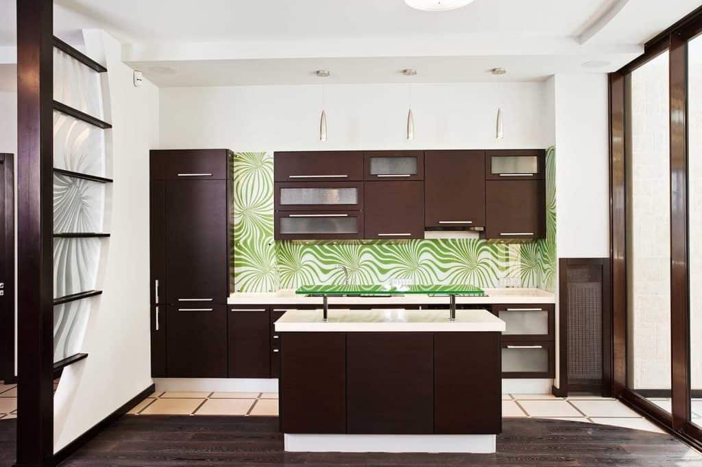 Modern kitchen interior with dark wooden floor