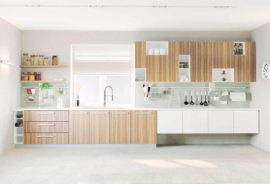 Modern kitchen interior with wooden vinyl cabinets