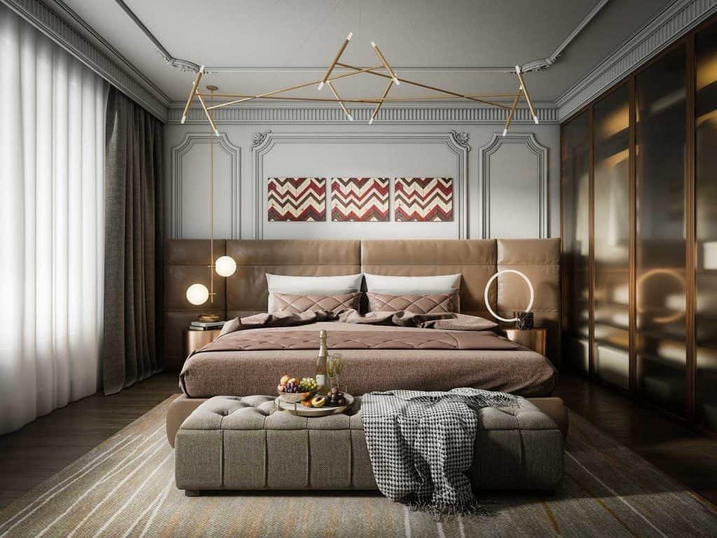 Modern light luxury master bedroom interior design with art decor on wall