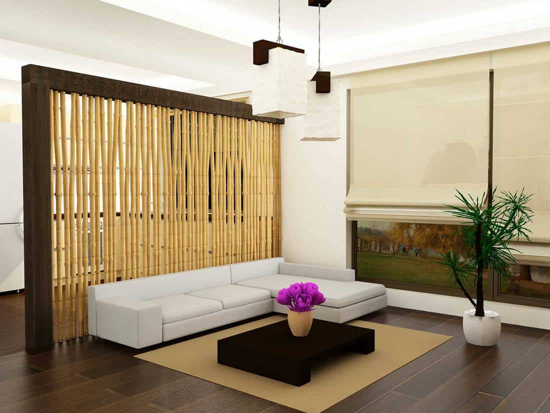 Modern living room interior with bamboo design divider wall
