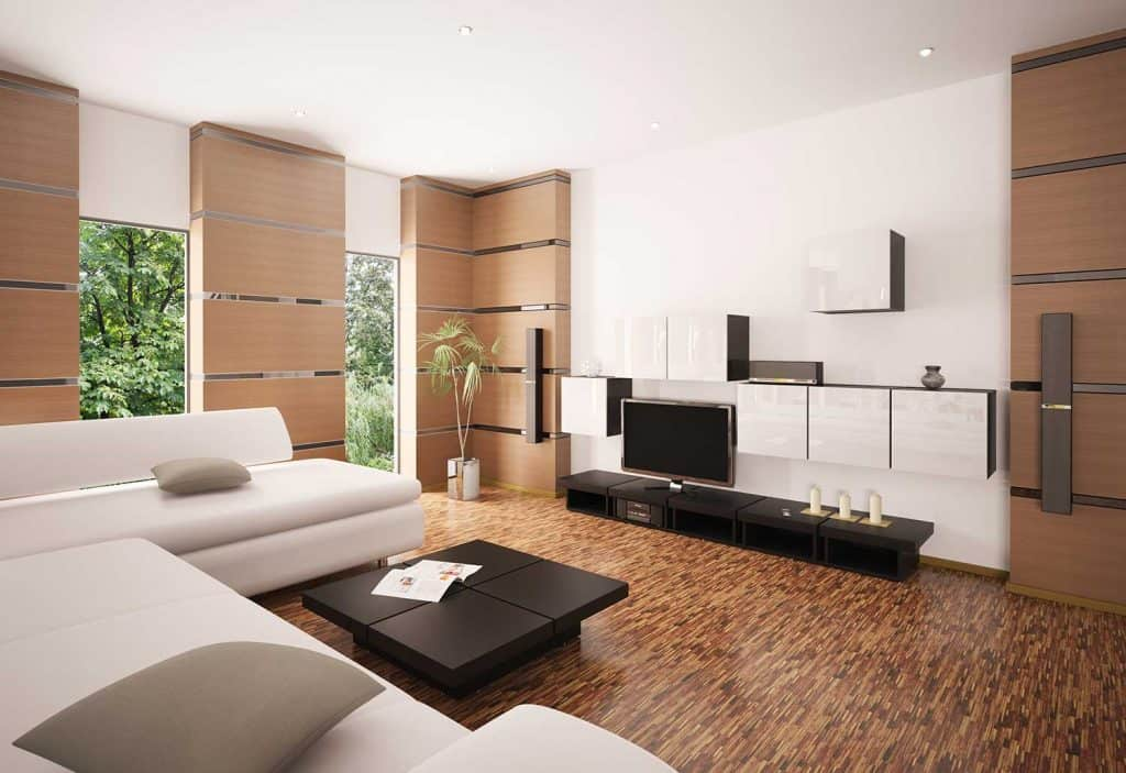 Modern living room interior with corner sofa, coffee table and TV