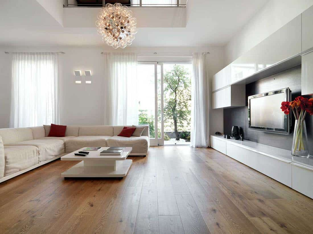 Modern living room with wooden floor and L-shape sofa