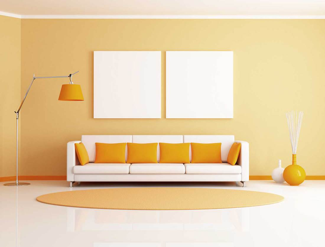 Modern lounge with sofa, floor lamp and white empty poster on wall