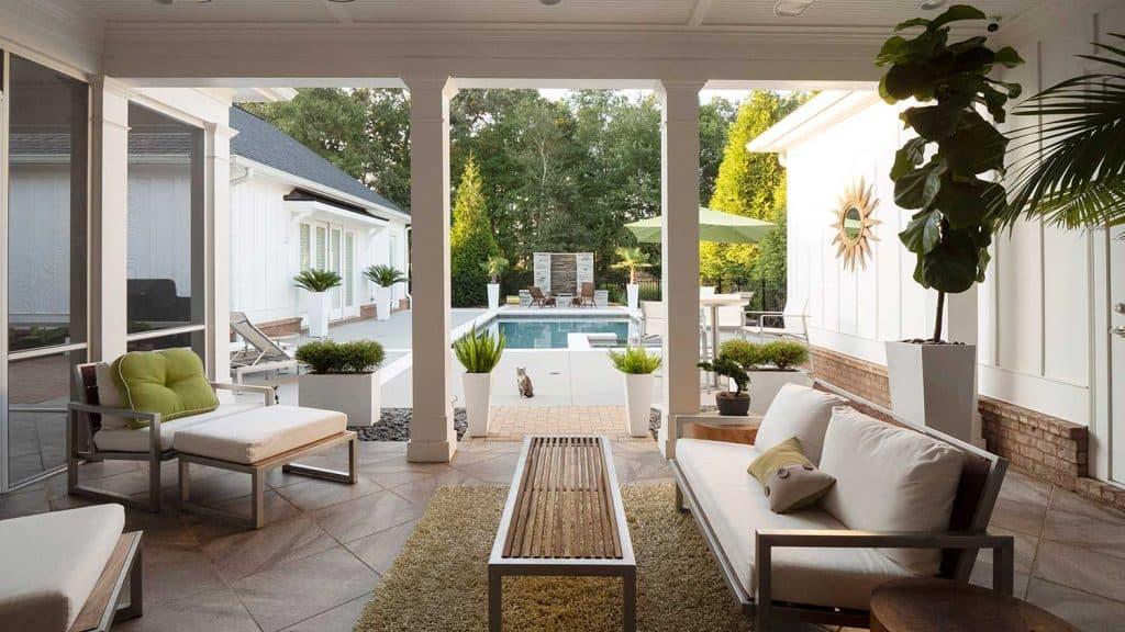 Modern patio overlooking pool