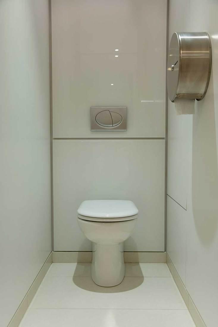 Modern toilet with tiled floor, opaque glass panels and hidden flush mechanism