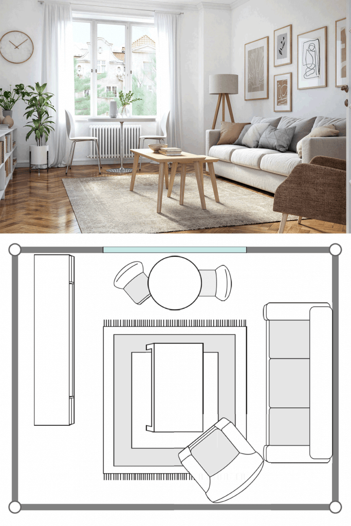 Narrow white colored living room with wooden laminated flooring, white sofa with throw pillows, and a coffee table