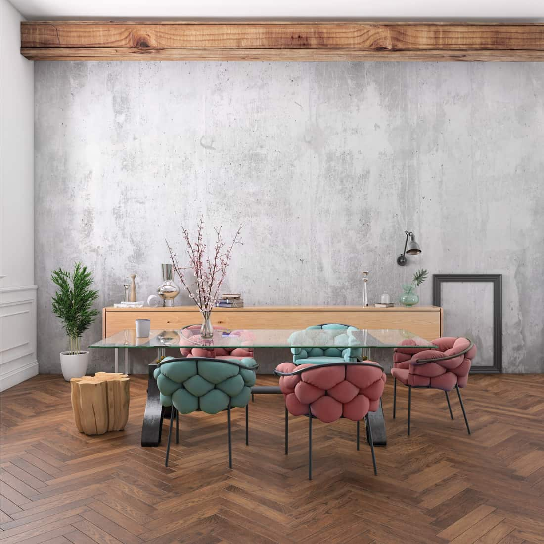 Nordic style office studio dining room interior with large glass table, neon and pastel colored chairs, gray concrete wall