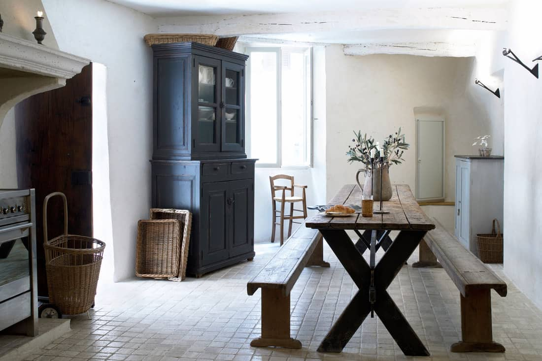 Old french home, dining room and dining table