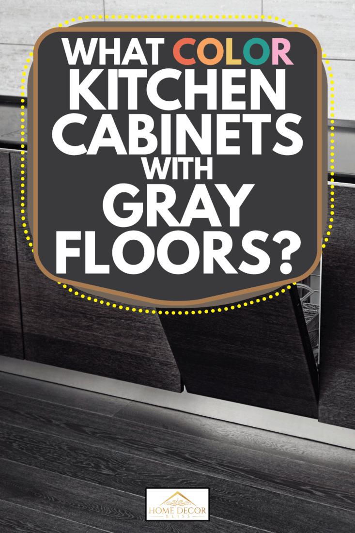 Open dish washer and gas stove on black hardwood kitchen countertop on dark gray floor, What Color Kitchen Cabinets With Gray Floors?
