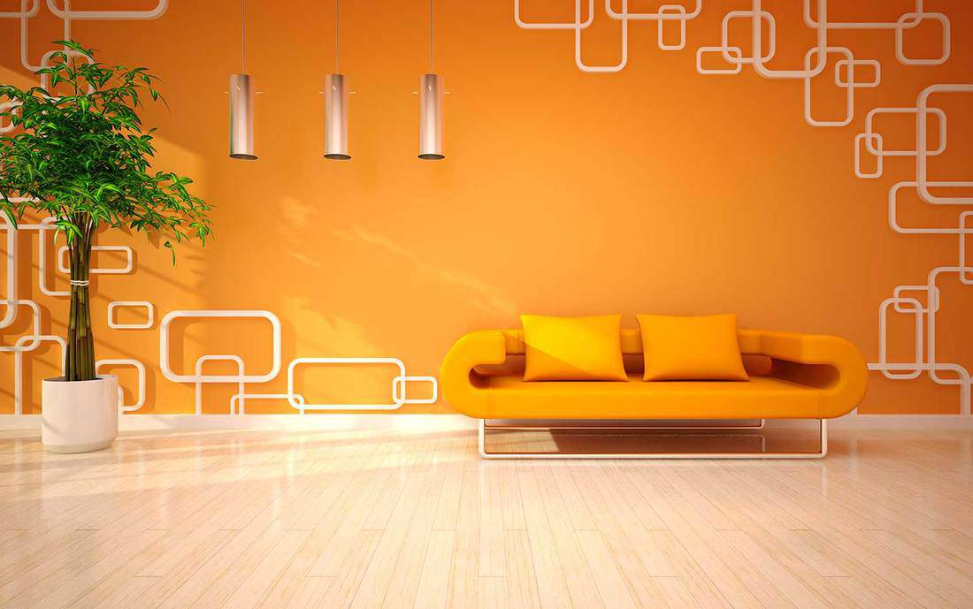 Orange living room with couch, house plant and parquet floor