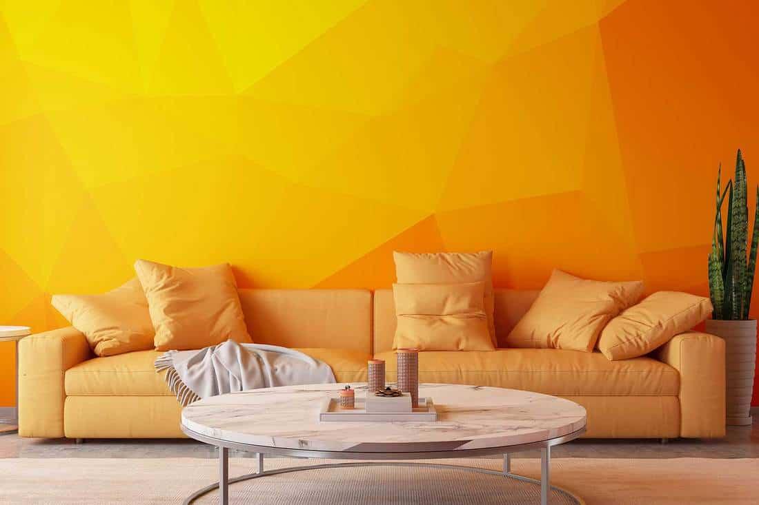 Orange living room with sofa