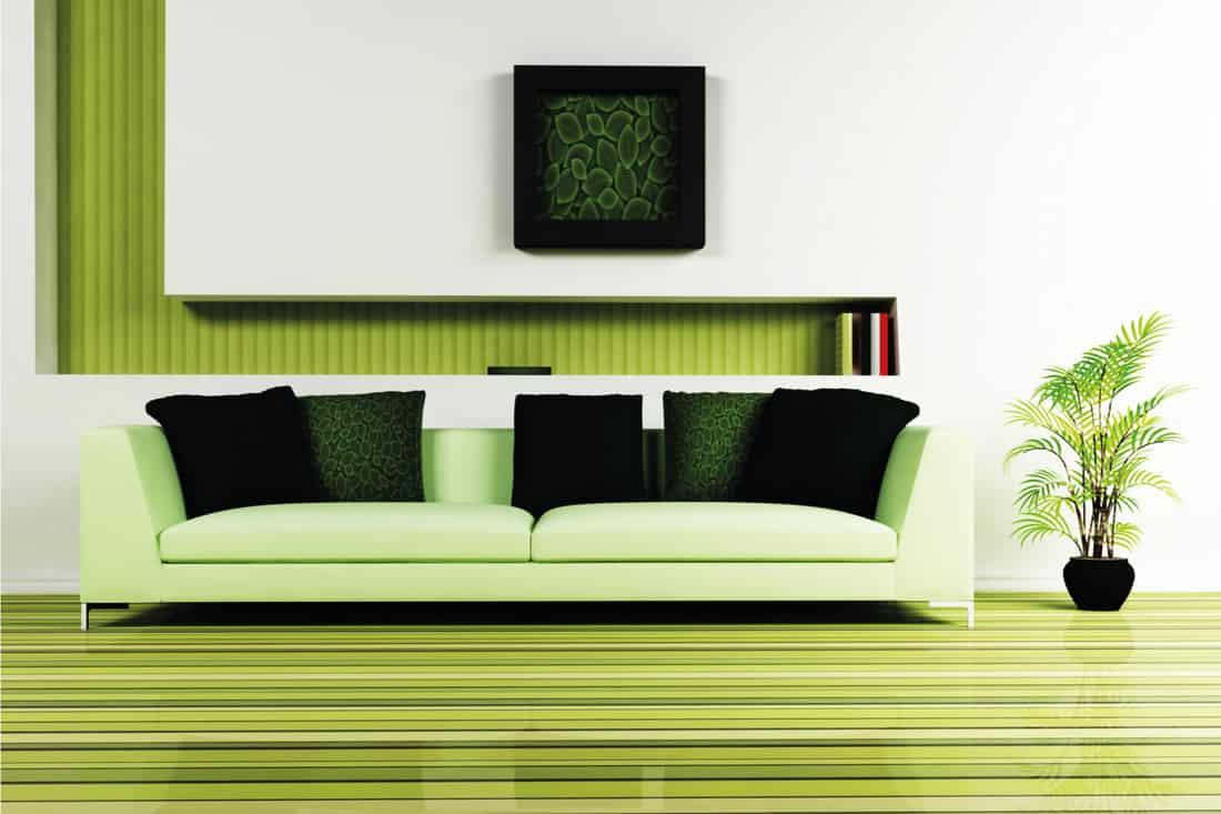Painted green hardwood flooring and walls