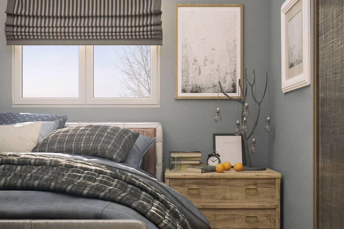 Picture of a cozy tiny bedroom with small windows and curtains, 13 Cute Small Window Curtain Ideas