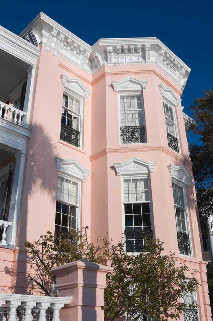 Pink house in morning light