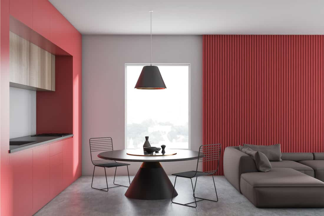 Red and white living room and kitchen. Dress Up Your Charcoal Grey Sofa With Red Accent Wall Paint