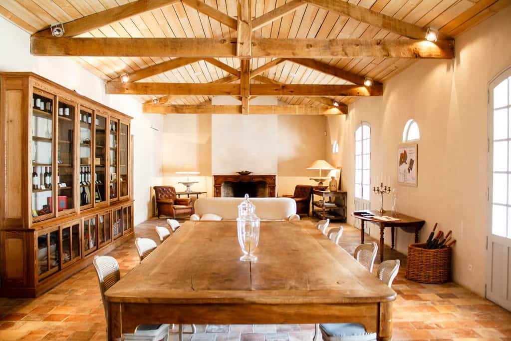 Rich rural French house interior with roof beams