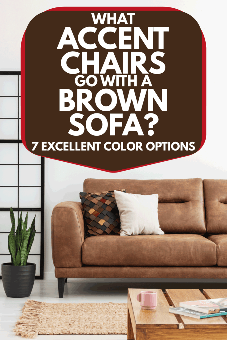 Rug and brown leather sofa with pillows in white interior with plant. What Accent Chairs Go With A Brown Sofa [7 Excellent Color Options]