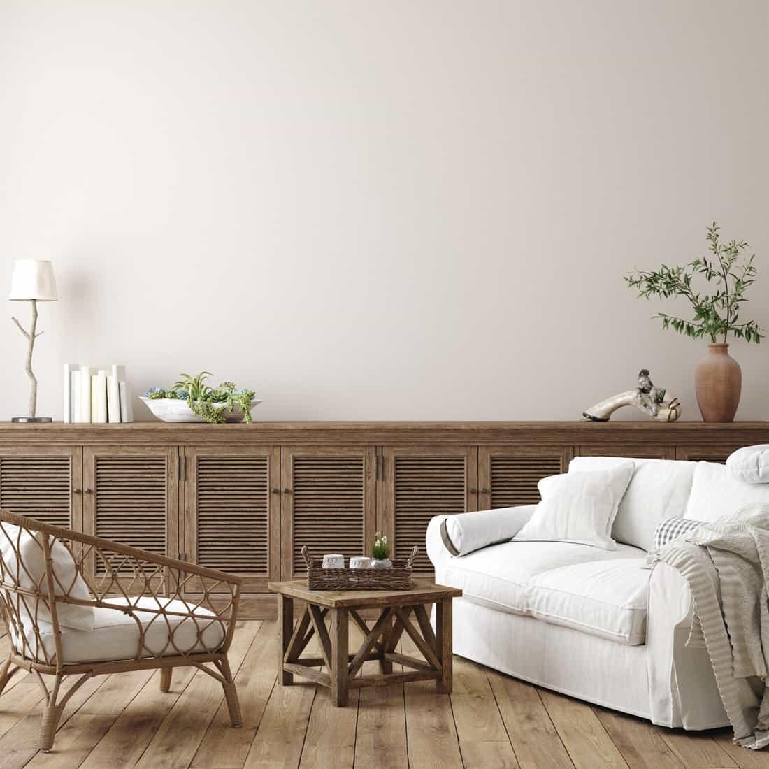 Scandinavian farmhouse living room interior, wall mockup