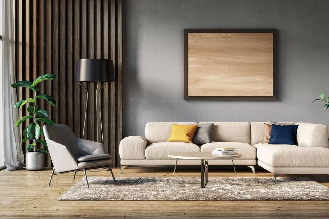 Scandinavian interior design living room with gray and beige colored furniture and wooden elements, What Goes With A Cream Couch? [Color Schemes Explored]